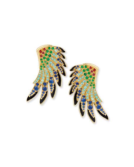 18k Gold Multi-Stone Wing Earrings
