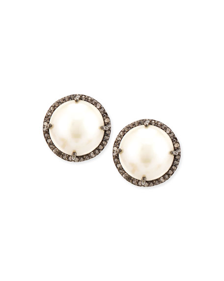 Siena Jewelry Pearl and Diamond Bezel Stud Earrings