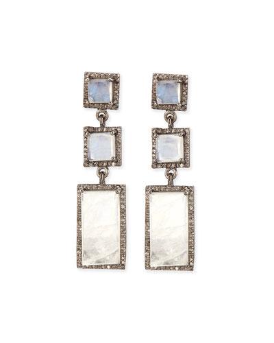 Moonstone Diamond Drop Earrings