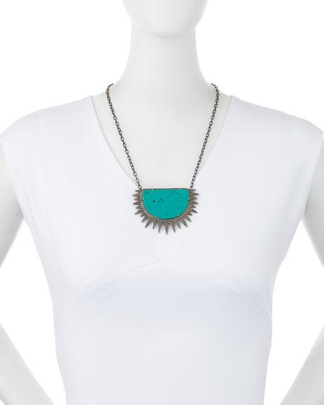 Turquoise Diamond Half Sun Pendant Necklace