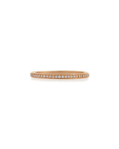 18k Rose Gold Thin Pave Diamond Band Ring, Size 7