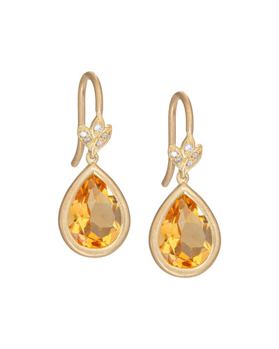 Petite Leaf Citrine & Diamond Drop Earrings