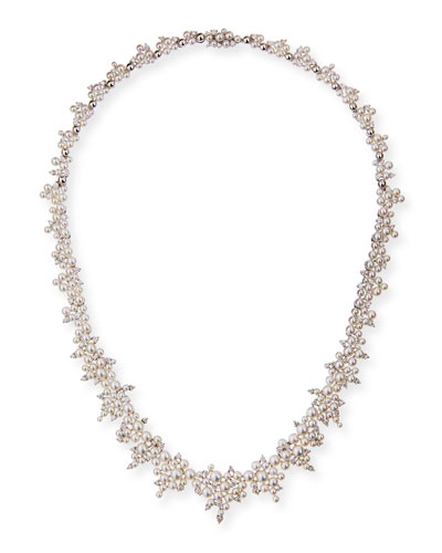 Lagrange 18k White Gold Pearl and Diamond Necklace