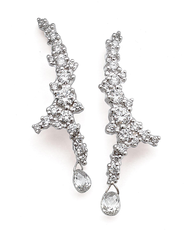 Paul Morelli 18k White Gold Confetti Diamond Climber Earrings Zep3jr