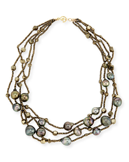 Linda Bergman Pyrite and Tahitian Pearl 4-Strand Necklace
