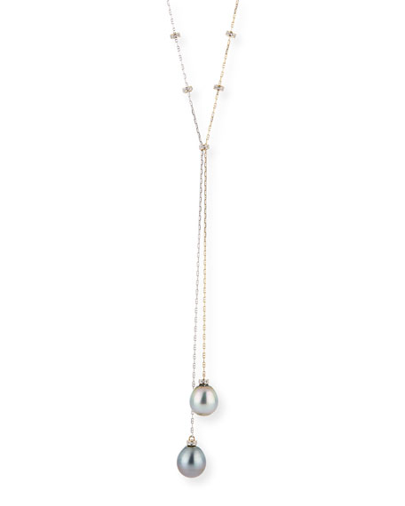 Linda Bergman 18k Pearl and Diamond Y-Drop Necklace