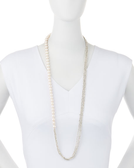 Freshwater Pearl and Pyrite Long Necklace, 34""
