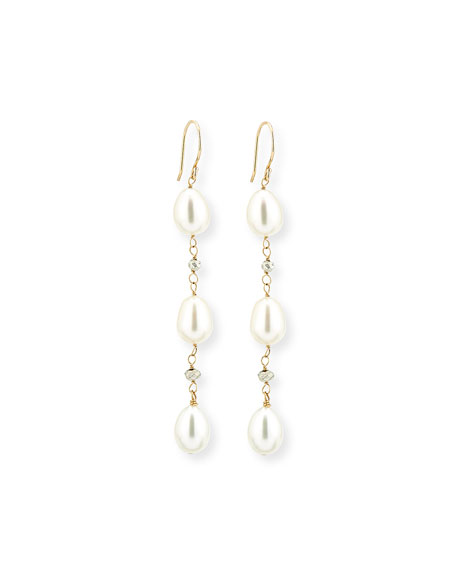Freshwater Pearl & Pyrite Drop Earrings