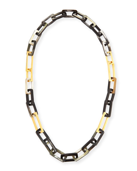 Maiyet Horn and Gold-Plated Link Necklace