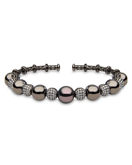 18k Black Gold Tahitian Pearl & Diamond Bangle