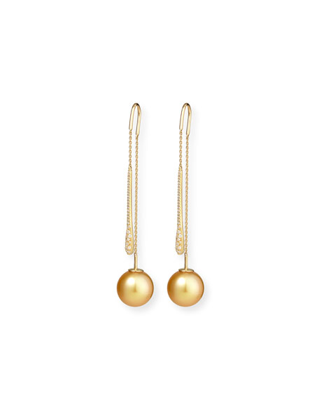 Yellow South Sea Pearl & White Diamond Threader Earrings