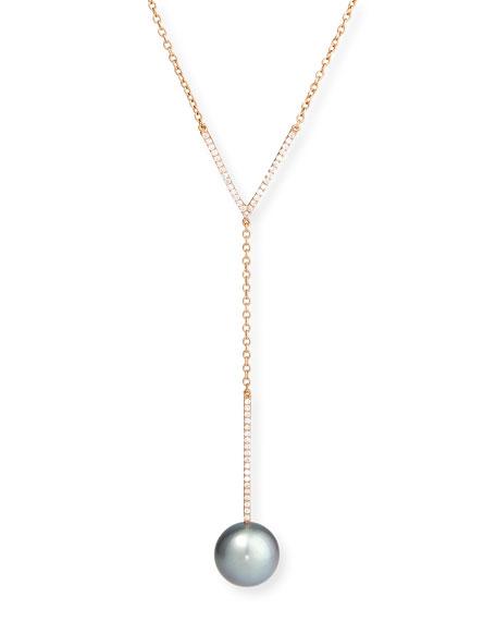 Tahitian Pearl & Diamond Y-Drop Pendant Necklace