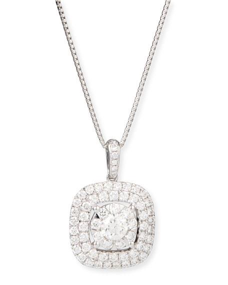 Bouquet 18k White Gold Square Diamond Pendant Necklace