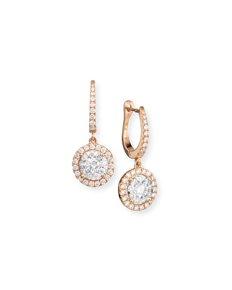 Bouquet 18k Rose Gold Diamond Dangle Earrings