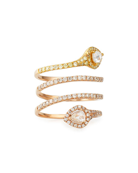 18k Rose Gold White & Yellow Diamond Snake Ring, Size 7