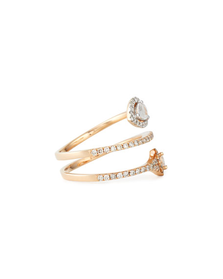 18k Rose Gold Coiled Diamond Snake Ring, Size 7