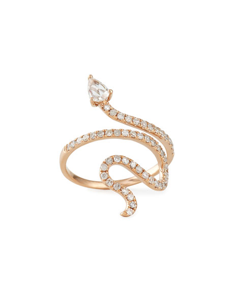 14k Rose Gold Diamond Snake Ring, Size 7
