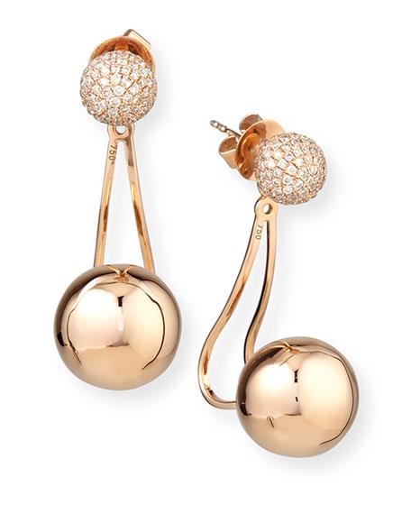 18k Rose Gold Diamond Ball Jacket Earrings