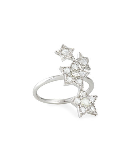18k White Gold Diamond Star Ring, Size 7