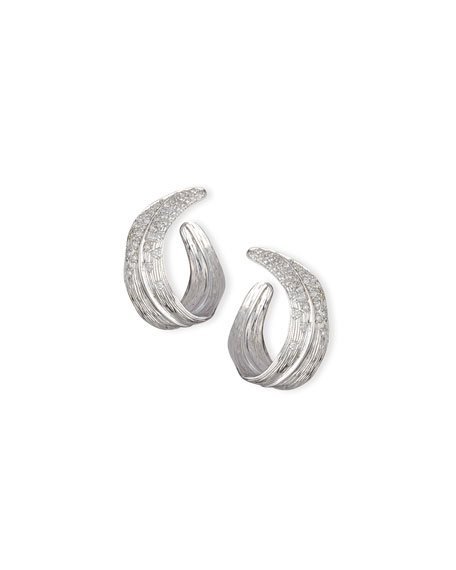 Palm Pavé Diamond Crescent Earrings