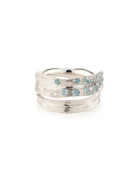 Pavé Sky Blue Topaz & Diamond Ring, Size 7