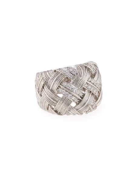 Michael Aram Palm Woven Band Ring with Diamonds,