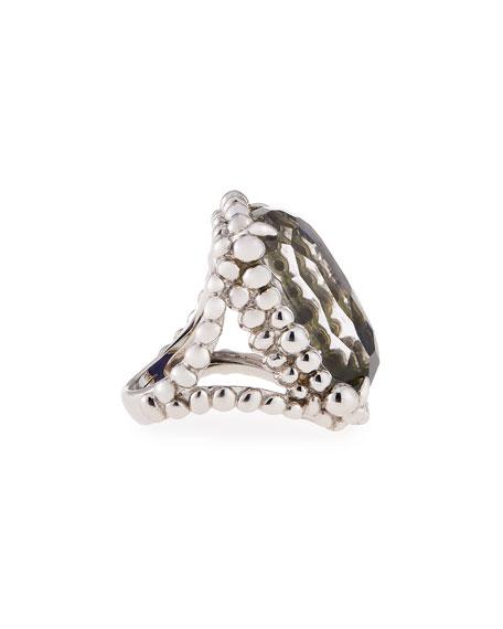 Molten Lapis & Labradorite Large Rectangle Ring, Size 7