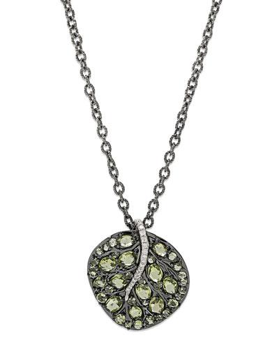Botanical Leaf Peridot Pendant Necklace