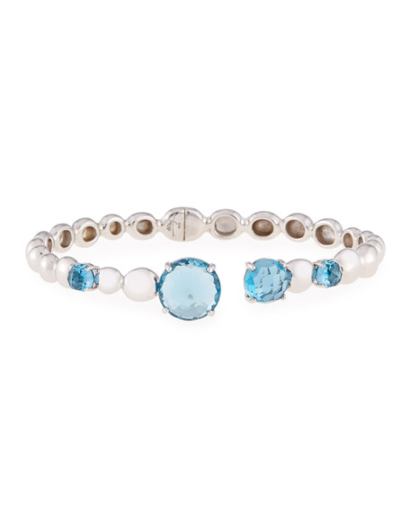 Molten Hinge Bangle with London Blue Topaz