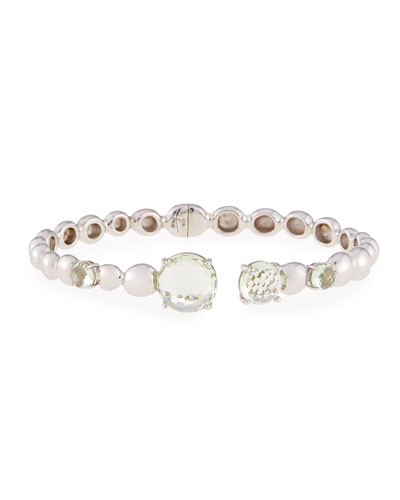 Molten Hinge Bangle with Green Amethyst