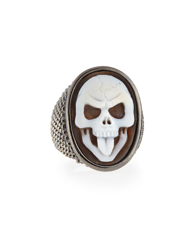 Thimble Skull Tongue Cameo Ring, Size 7
