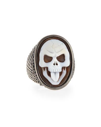 Thimble Skull Tongue Cameo Ring, Size 8