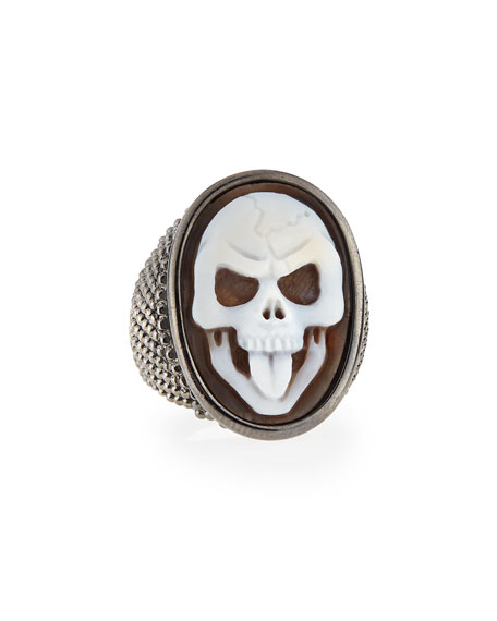 Thimble Skull Tongue Cameo Ring, Size 8