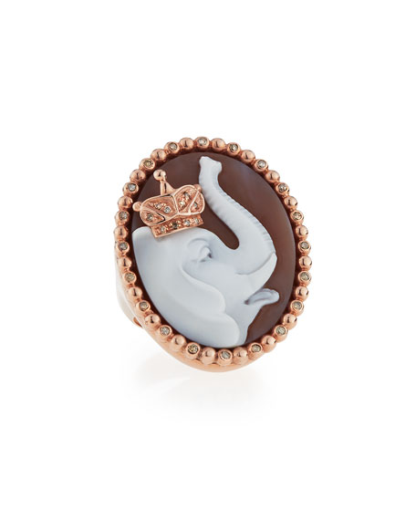 Royal Sardonyx Elephant Ring with Brown Diamonds, Size 7