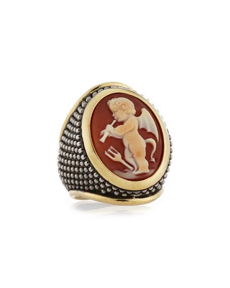 Thimble Cornelian Cameo Ring, Size 7