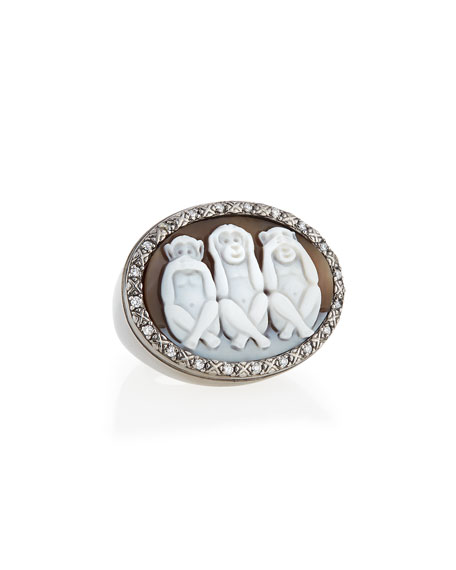 Wise Monkeys Sardonyx Cameo Diamond Ring, Size 6