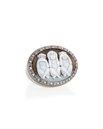 Wise Monkeys Sardonyx Cameo Diamond Ring, Size 8
