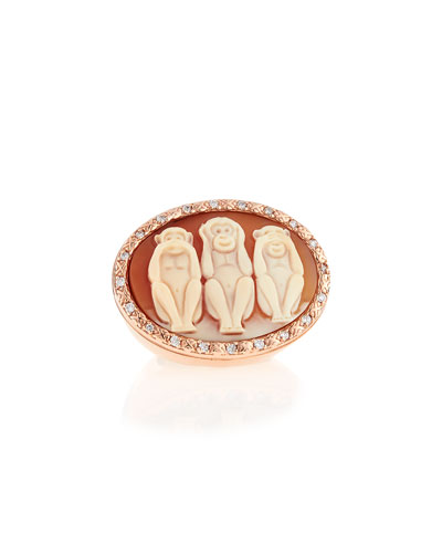 Wise Monkeys Cornelian Cameo Diamond Ring, Size 7