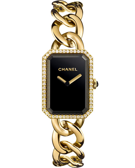 PREMIÈRE 18K Yellow Gold Chain Watch with Diamonds, Large Size