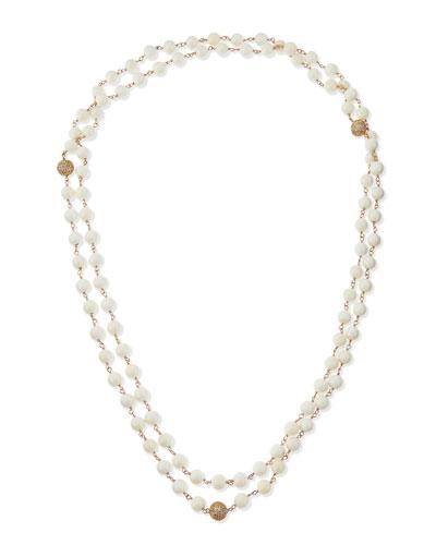 Bone and 14k Gold Diamond Beaded Necklace
