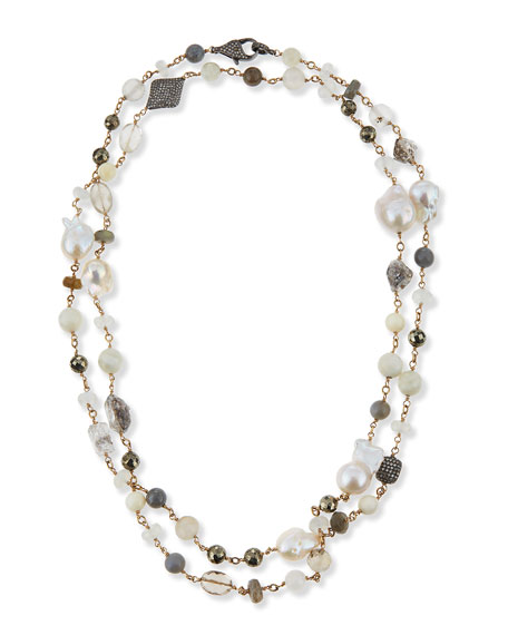 Sheryl Lowe Mixed Stone and Diamond Beaded Necklace, 44