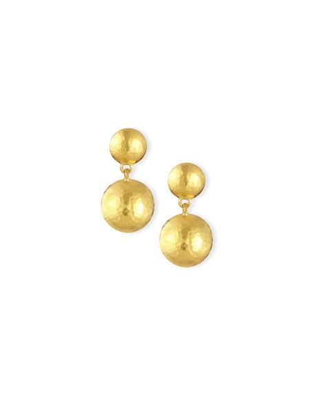 24K Gold Lentil Drop Earrings