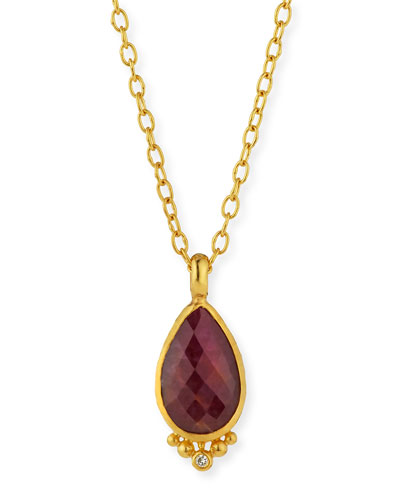 Elements 24k Constantine Ruby Pendant Necklace