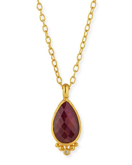 Elements 24k Constantine Ruby Pendant Necklace