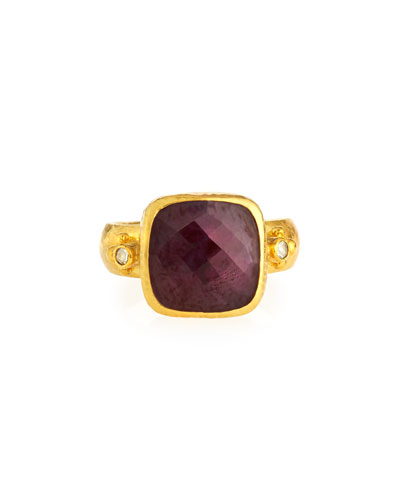Elements 24k Gold Constantine Ruby & Diamond Ring, Size 6.5