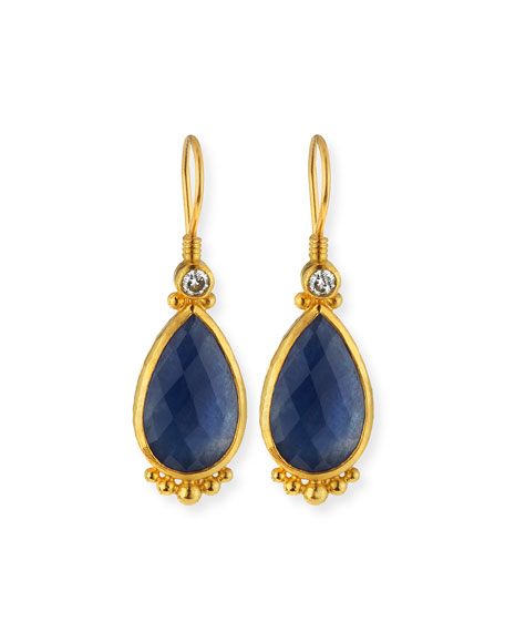 Gurhan Elements 24k Constantine Sapphire Teardrop Earrings