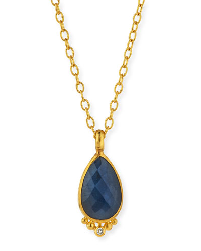 Elements Rose-Cut Blue Sapphire Pendant Necklace