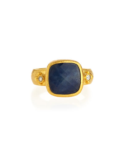 Elements 24k Gold Constantine Sapphire & Diamond Ring, Size 6.5