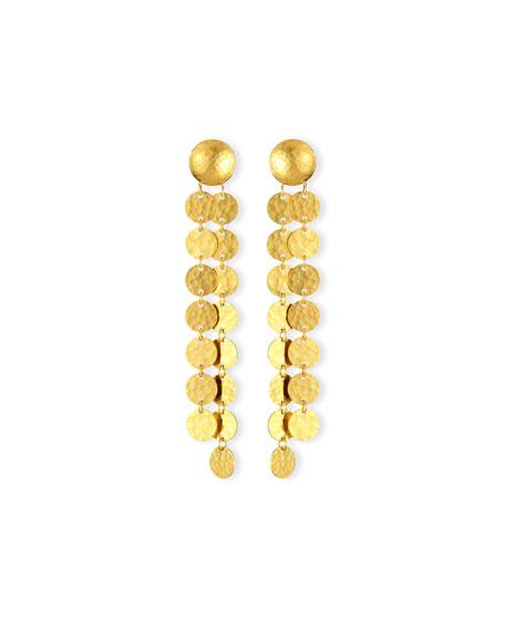 24K Lush Double-Disc Drop Earrings