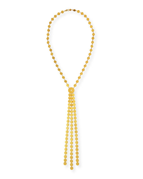 Gurhan Lush 24k Gold Large Lariat Diamond Necklace